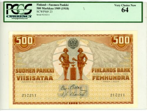Finland ... P-23 ... 500 Markkaa ... 1909(1918) ... *UNC* ... PCGS 64
