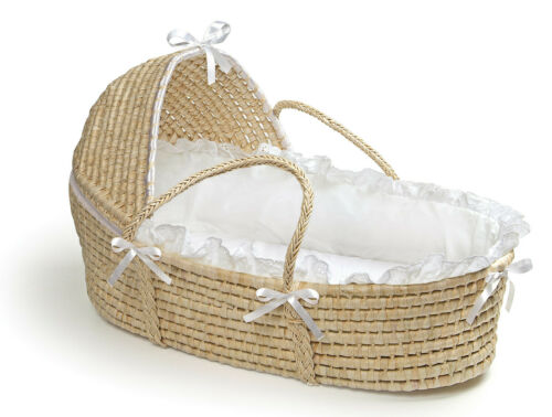 Badger Basket Natural Hooded Moses Basket - White Bedding