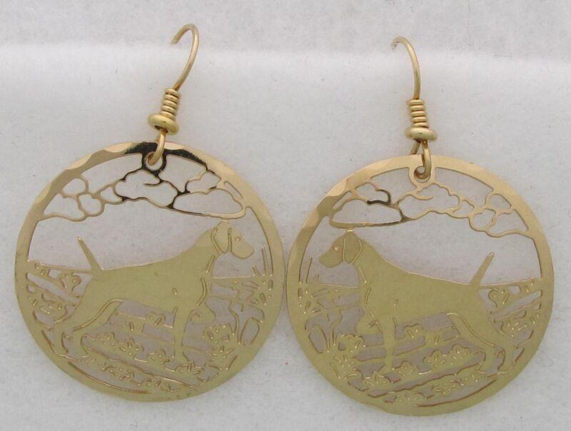 Weimaraner Jewelry Gold Dangle Earrings by Touchstone