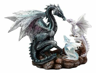 "Azure Dragon On Volcanic Mountain Backflow Incense Burner Figurine 12/"" Height"