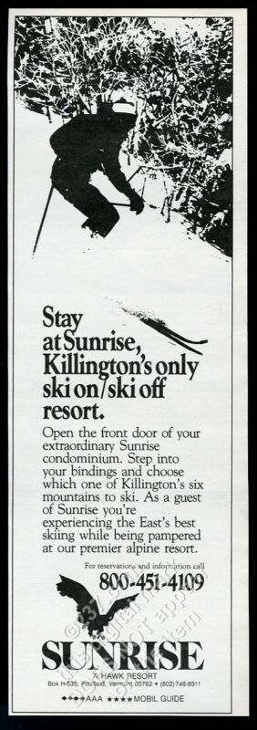 1985 Killington Vermont ski area skier skiing photo Sunrise resort print ad
