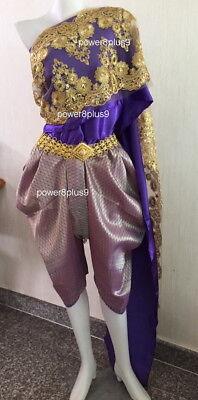 Lao Thai Traditional Wrap Pants Costume Wedding Dress Cosplay TuTu Dancewear Top - Wedding Dress Costume