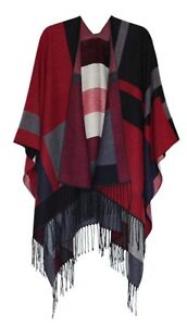 Red/ Black/ Grey warm  Reversible Shawl  Poncho Cape