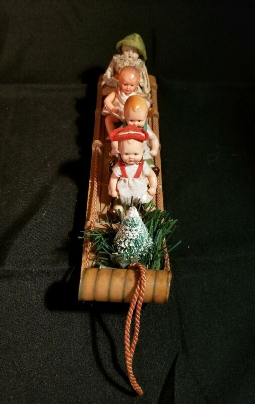 """10"""" L Miniature Antique Wood Sled-4 /Celluloid Dolls-Germany-So Sweet!"""
