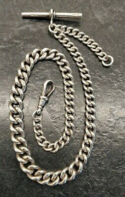 Antique Silver All Original Graduated Curb Link Albert Pocket Watch Chain, E.W&S