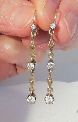 Antique 1900 era 14k Gold european cut SI diamond dangle earrings .90 carat ttl