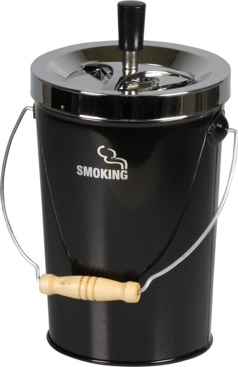 XXL Drehascher Aschenbecher Smoking schwarz-chrom