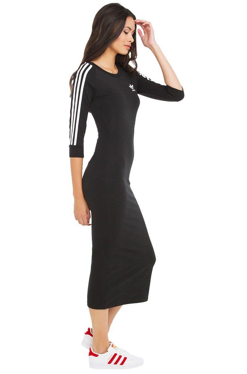 4a99474958755 Adidas Originals W Classic 3 Stripes Slim Black Dress Sizes New (613) фото