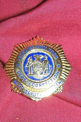 Obsolete Badge New York Department of Corrections Warden Warden's Prison Vintage
