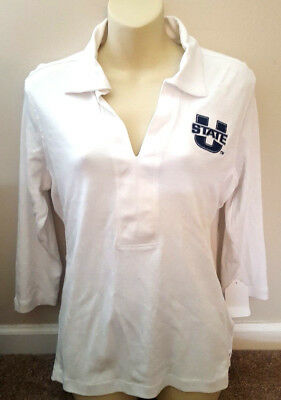 UTAH STATE AGGIES Womens Polo Shirt Large Golf Top Oxford Brand White New