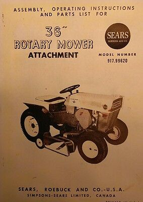 Sears Custom 6 Lawn Garden Tractor 36 Rotary Mower Implement Owner Parts Manual