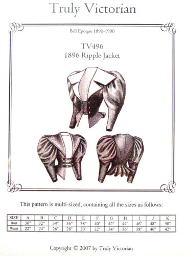 Truly Victorian TV496 Bell Epoque1896 Ripple Jacket Sewing Pattern for