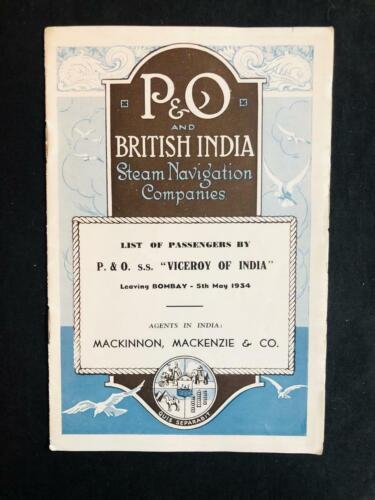 P & O BRITISH INDIA OCEAN LINER VICEROY OF INDIA PASSENGER LIST, MAY 1934 Bombay