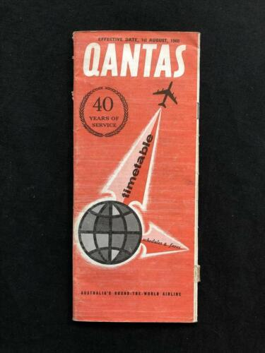 QANTAS AIRLINE AUSTRALIA TIMETABLE BOOK, DATED 1960 Lockheed Constellation