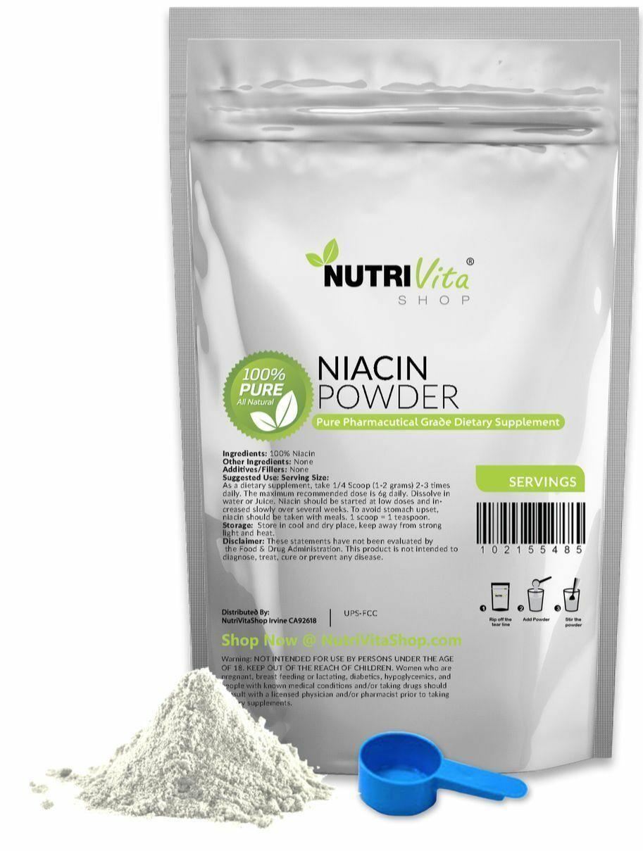 NVS 100% PURE NIACIN NICOTINIC ACID POWDER VITAMIN B3 HEART VEGAN ORGANIC SOURCE