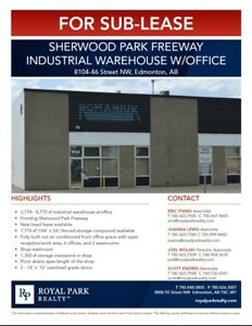 Sherwood Park FWY Industrial Warehouse w/ Office for Sub-Lease