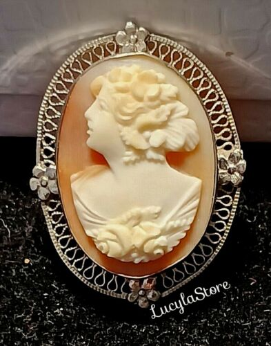 Vintage CAMEO Detailed Shell Filigree Sterling Silver 925 Brooch Pin
