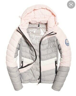 NWT Superdry offshore chevron blush pink winter puffer jacket SOLD OUT XS