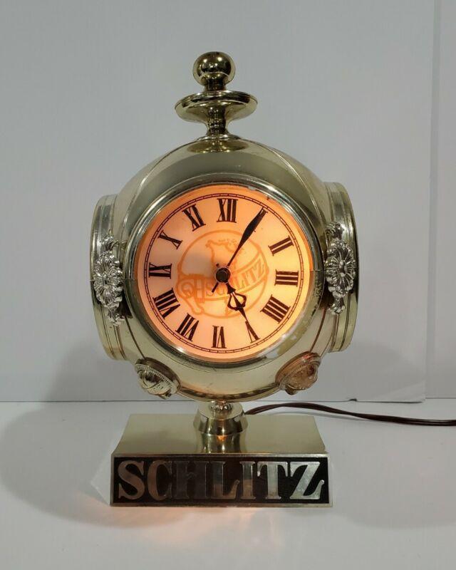 Vtg 1972 Schlitz Beer Advertising Sign Bar Light Clock Tabletop Desk Lamp Globe