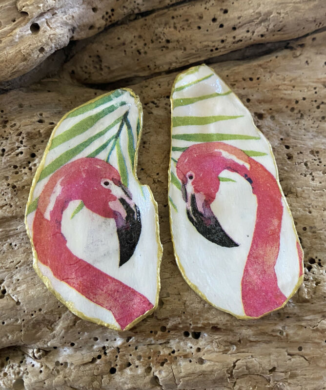 Pink Flamingo Oyster Shells Coastal Trinket Holders Decoupage Art Beach Decor