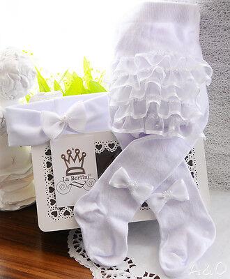 Strumpfhose Rüschen am Po und Stirnband SET Baby - Strumpfband Und Strumpf Set