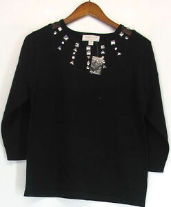 Victor Costa Sz S Occasion 3/4 Sleeve Embellished Top Black NEW NWOT
