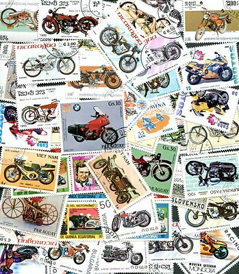 COLLECTION OF 50 DIFFERENT MOTORCYCLES - MOTORCYCLE POSTAGE STAMPS!