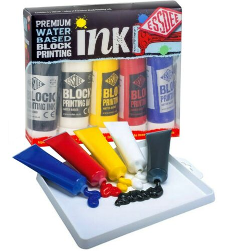 Essdee PREMIUM Block Printing Ink Set 5 Colours x 100ml Paint Tubes Made in UK