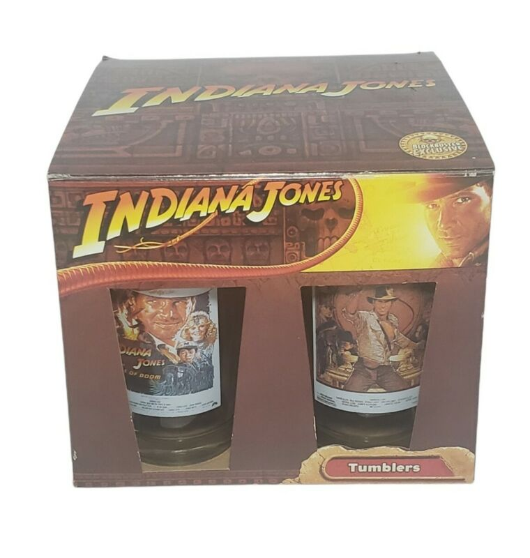 Indiana Jones Movie Poster Tumblers Glasses Set Of 4 Blockbuster Limited Edition