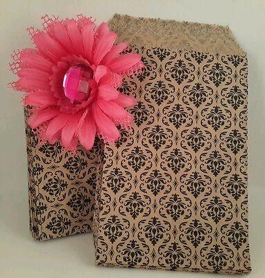 100 8 12x11 Damask Paper Merchandise Party Favor Treat Flat Goodie Bags