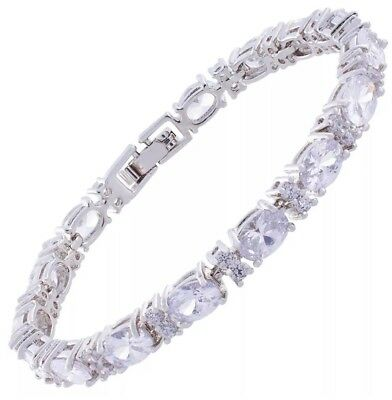 White Sapphire And Topaz Tennis Bracelet 14Kt White Gold 6 to 10 Inch NEW