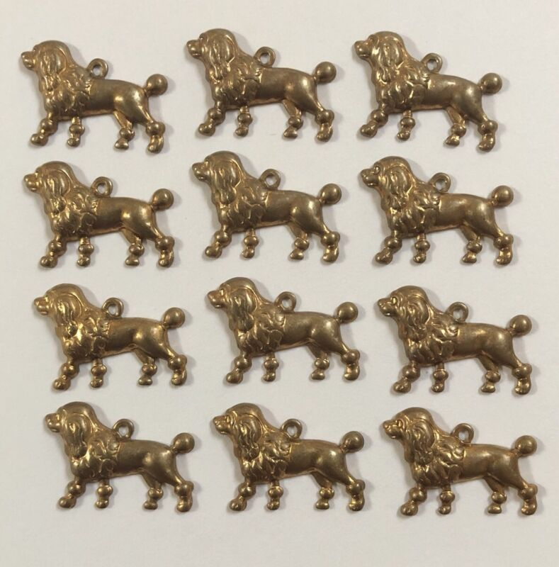 Lot of 12 Vintage STANDARD POODLE Stamped Brass Charms - DOG JEWELRY