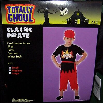 TOTALLY GHOUL BOY'S CLASSIC PIRATE HALLOWEEN COSTUME NWT!  SIZE MEDIUM