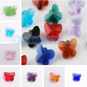 10pcs-14mm-Butterfly-Shape-Crystal-Glass-Faceted-Loose-Spacer-Beads-Pendants