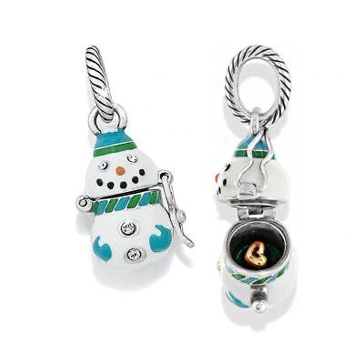 NEW Brighton SNOWBALL Snowman Charm Blue White Opens Gold Heart Christmas -