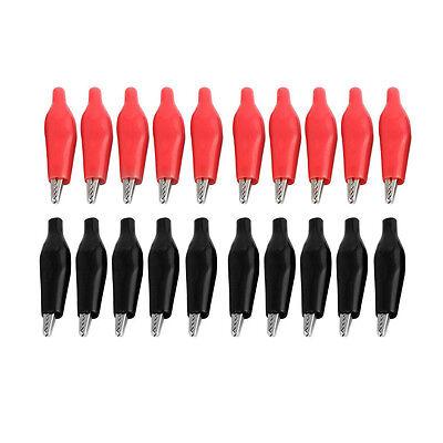 20 Pcs Black Red Soft Plastic Coated Testing Probe Alligator Clip Lw