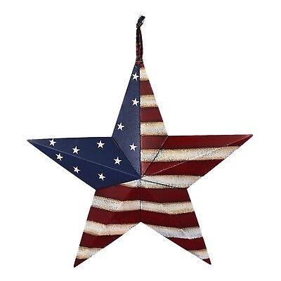 (Metal Rustic Patriotic American Flag Barn 3D Star Memorial Day July 4th Decor )