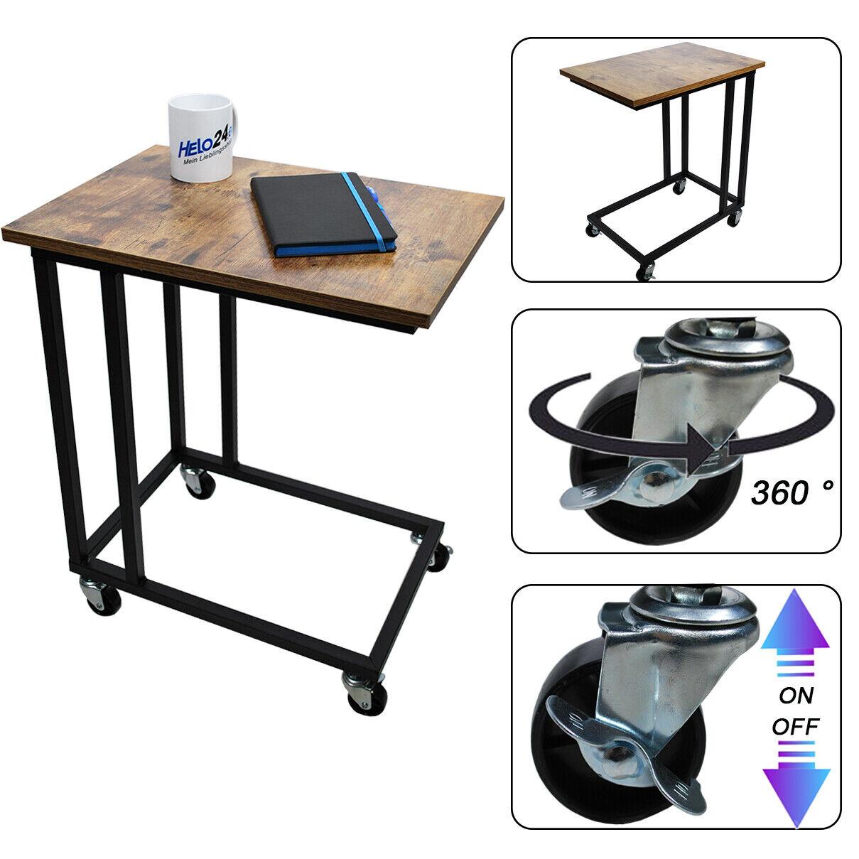 Beistelltisch Sofatisch Kaffeetisch Betttisch Laptoptisch Stahl Holz mit Rollen