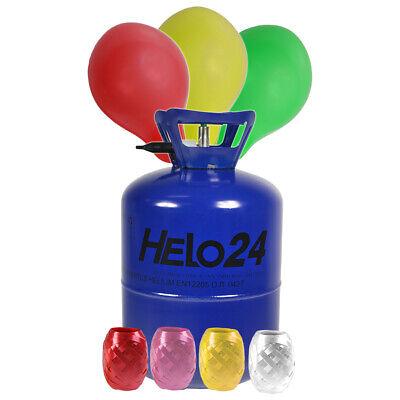 Helium Ballongas ca. 0,25 m³ Heliumflasche inkl 30 Luftballons Gas RUND BUNT