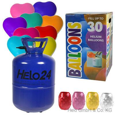 Helium Ballongas 0,25 m³ Heliumflasche Luftballons inkl 30 Herzluftballons bunt
