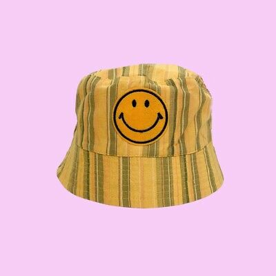 Vintage 90s Deadstock Smiley Yellow Stripe Bucket Rave Festival Y2K Rave Hat