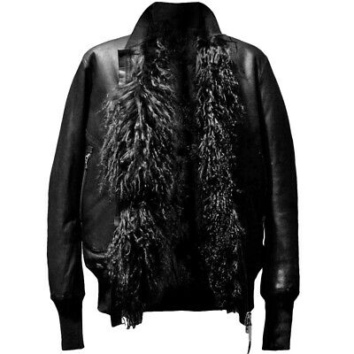 Isaac Sellam Reversible Mongolian Lamb Fur Shearling Leather Bomber Jacket $4035