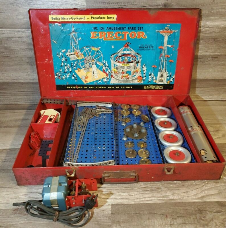 Gilbert 1949 No. 10.5 Amusement Park Erector Set in Original Metal Case