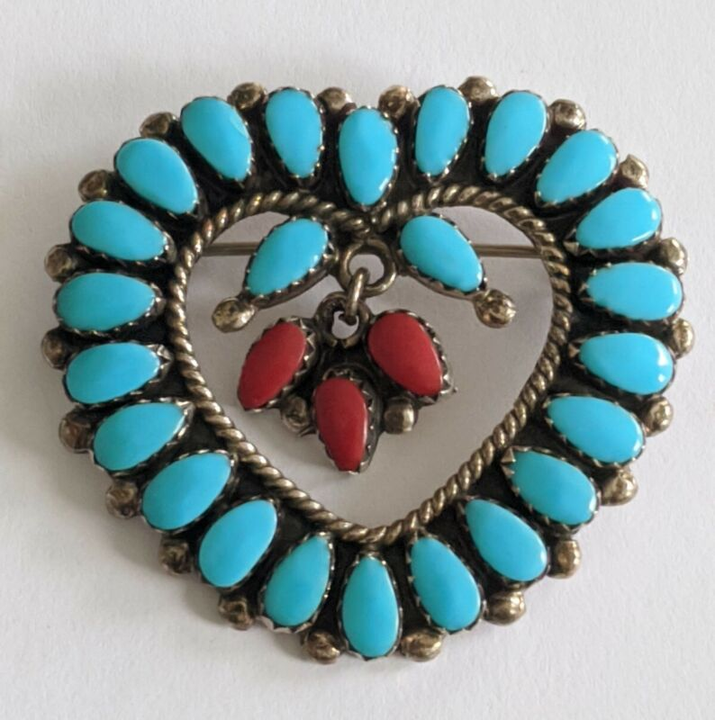 Vintage Navajo Sterling Turquoise Coral Heart Pin Brooch