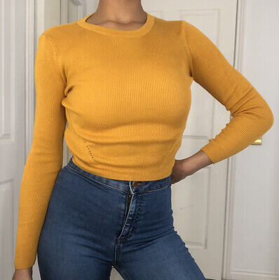 Used, H&M Mustard Yellow Ribbed Soft Knit Long Sleeve Crop Top Size Small 8-10 for sale  Shipping to Ireland