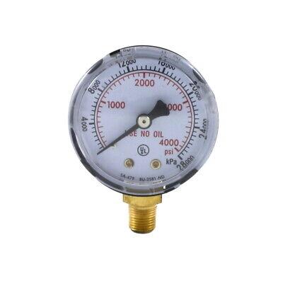 High Pressure Gauge For Oxygen Regulator 0-4000 Psi 2 Inches - 18 Npt Thread