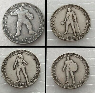 4pcs US Hobo 1888 Morgan Dollar Avengers Heroes Marvel Movie Collection Coins