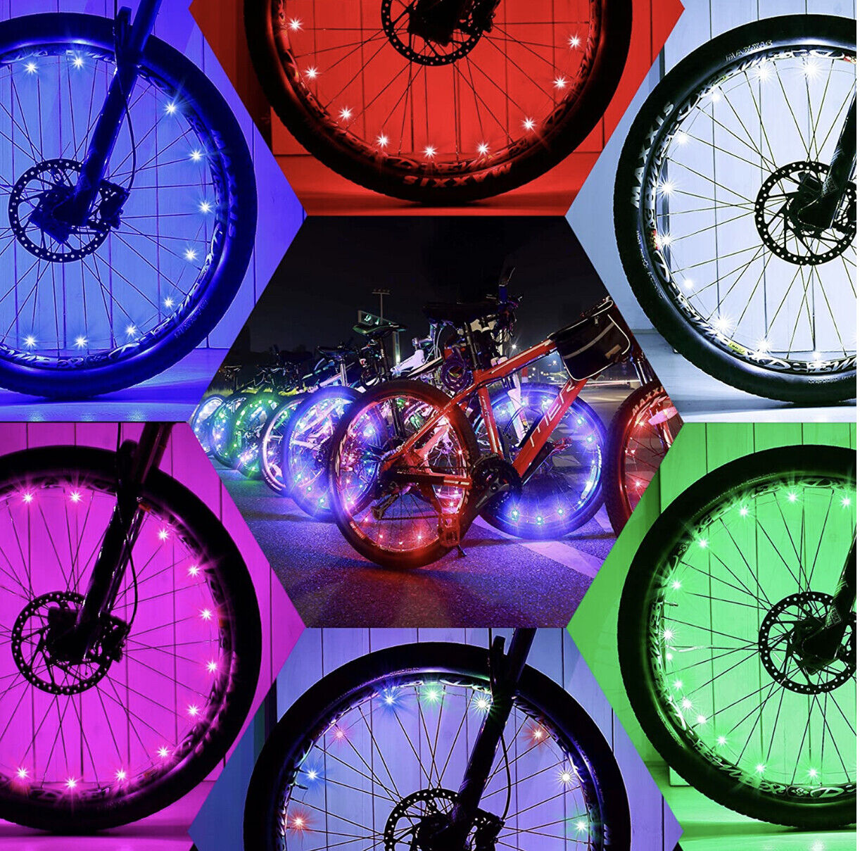 Bike Lights RED colour Flashing LED Cycling for Tire Tyre Wheel Spoke SEE VID