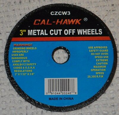 """New 100 Piece 3"""" Inch Metal Cut Off Wheel Disc for Die Grinder 1/32"""" Thick Three"""