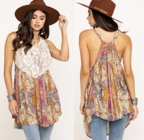 Free People Count Me In Trapeze Mini Dress Tunic NWT NEW Large Reg $88